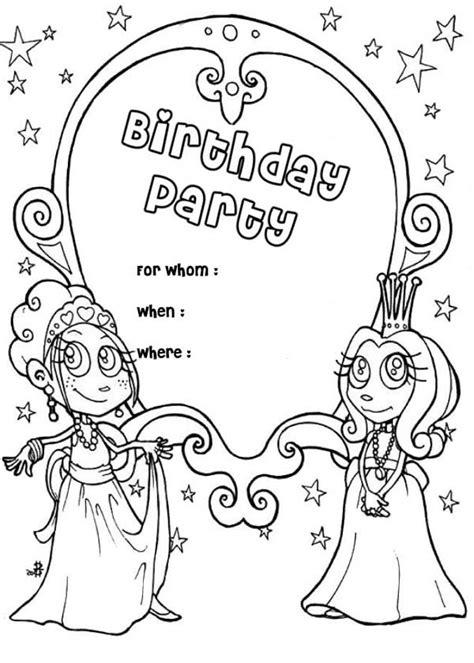 Happy Birthday Party Invitation Coloring Page | Color Luna