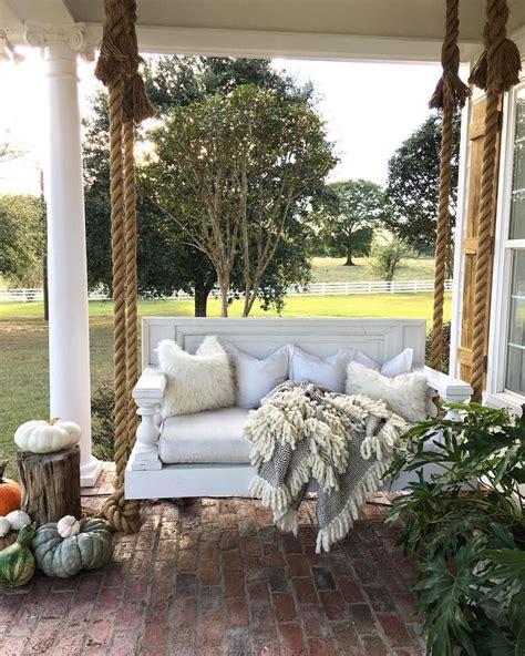 rustic farmhouse porch decor ideas hanging manor bed