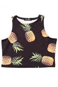 Pineapple Print Crop Top Black