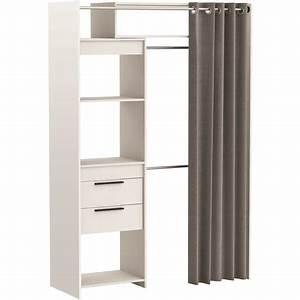 Dressing Pas Cher Conforama : kit dressing extensible blanc dressit avec rideau pas cher ~ Dailycaller-alerts.com Idées de Décoration