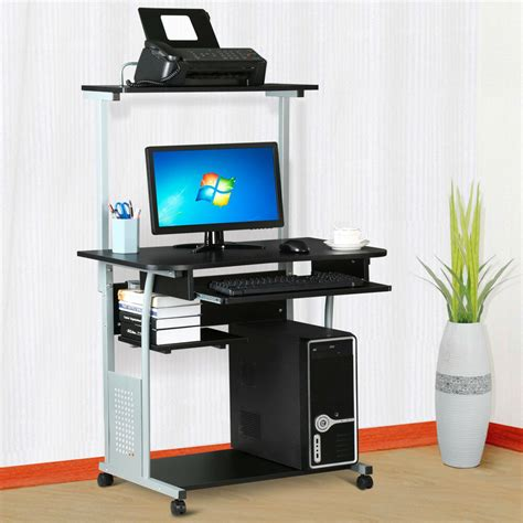 rolling computer desk  printer shelf laptop writing