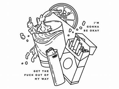 Alcohol Tattoo Drawing Dribbble Sketch Smoke Bullet