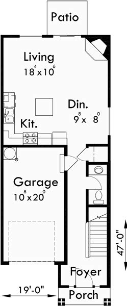 narrow lot duplex house plans  story duplex house plans