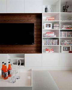 built in media cabinet contemporary living room With built in media console