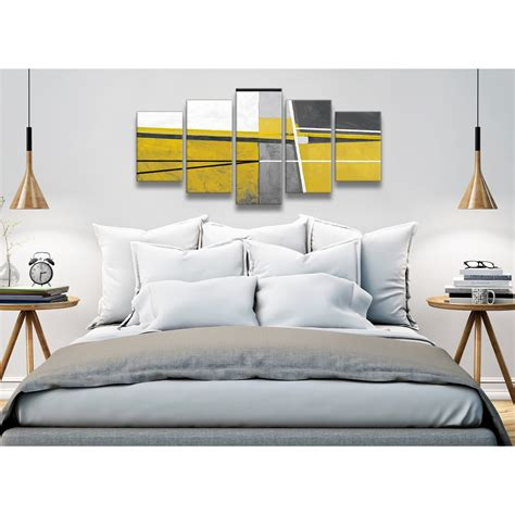 5 panel mustard yellow grey painting abstract bedroom canvas pictures decorations 5388 160cm