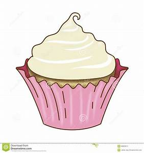 Vanilla Cupcake And Icing Pink Wrapper Stock Illustration ...