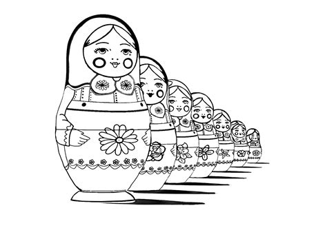 russian dolls perspective russian dolls adult coloring pages