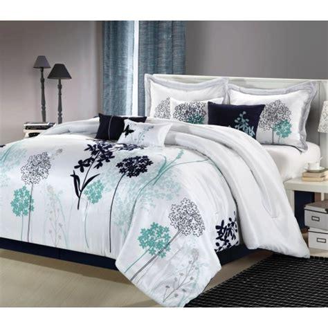 8pc luxury bedding set haley white navy teal bedding