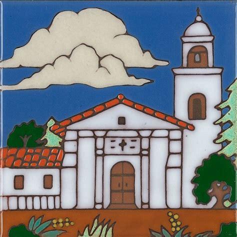 mission santa cruz handpainted ceramic art tile