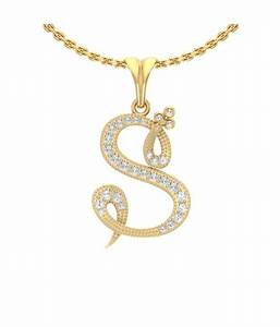 jewels5 s letter diamond studded gold pendant buy jewels5 With s letter gold pendant