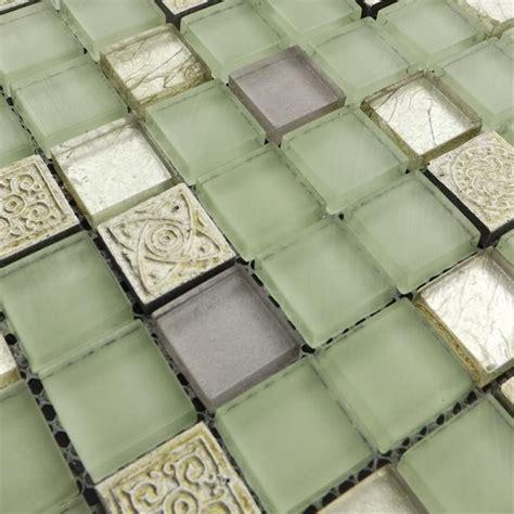 light green color glass mixed stone mosaic tiles for kitchen backsplash tile bathroom shower