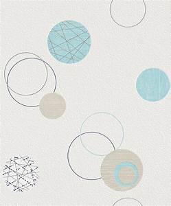Vliestapete blau beige Kreise Planet Rasch 475913