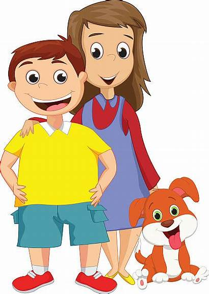 Brother Sister Boy Sorella Cartoon Younger Together