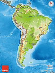 Physical Map Of South America  Semi