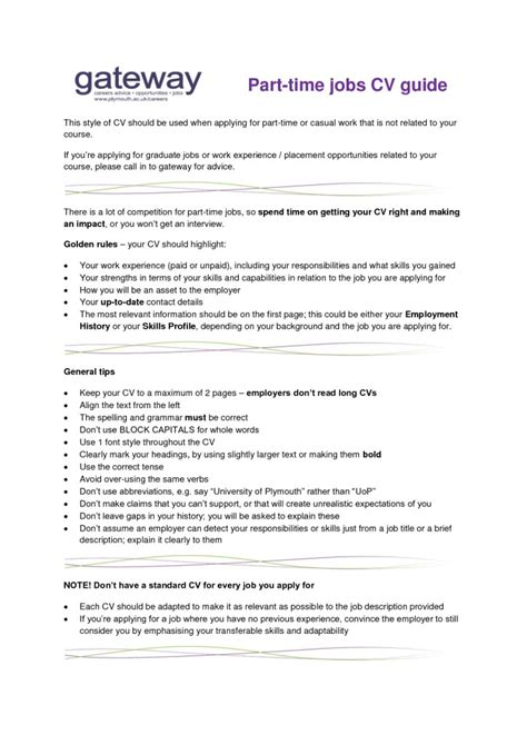 best objective for resume for part time jobs for students resume part time objective
