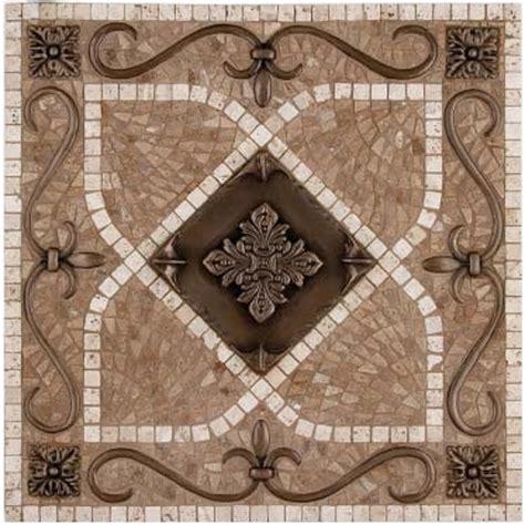 kitchen backsplash metal medallions landmark metalcoat renaissance mosaic medallion 18 quot x 18 quot copper highlight traditional tile