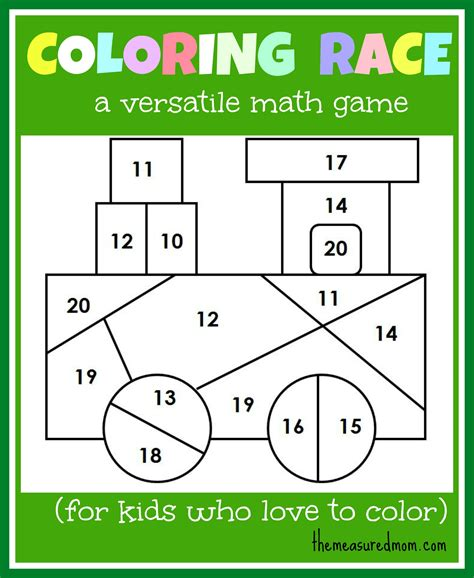 Math Game For Kids Coloring Race Combines Math And Coloring  The Measured Mom