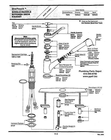 delta single handle shower faucet repair diagram single
