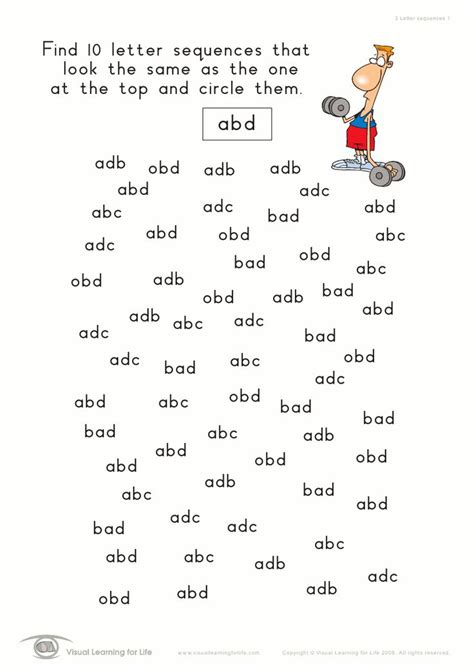 Alphabet Visual Discrimination Worksheets Homeshealthinfo