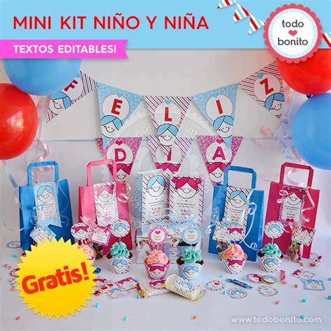 gratis mini kit imprimible nina  nino todo bonito
