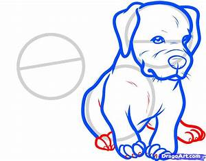 How to draw two puppies of a pit bull terrier with a ...