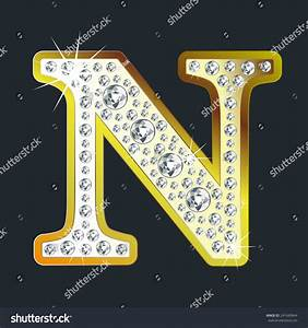 Gold Shining Letter N With Diamonds Stock Vector ...