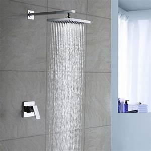 "8""INCH single handle Chrome wall mounted brass rain shower ..."