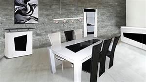 Table salle a manger noir laque for Meuble de salle a manger avec cuisine equipee noir laque pas cher