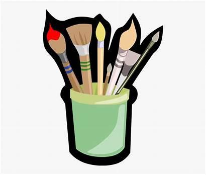 Paint Jar Same Brushes Clip Cartoon Netclipart