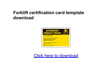 Scissor Lift Certification Card Template by Card Template For Docs Forklift Certification Card