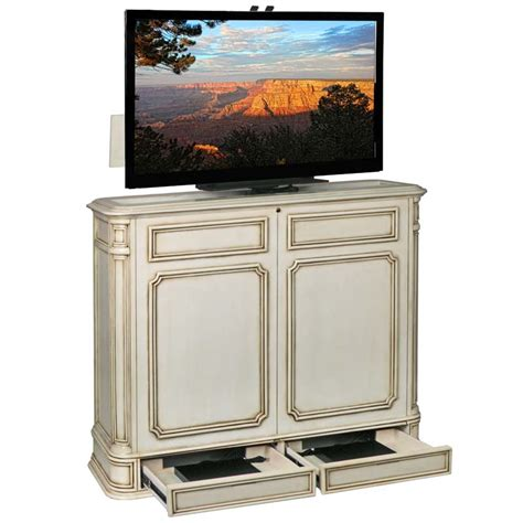 tv lift cabinets tv lift cabinet pointe 360 swivel lift for 32 to