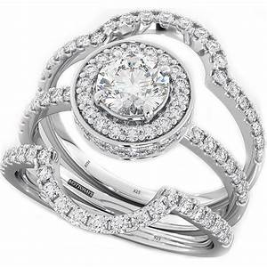 round cut cz halo design 3 piece genuine 925 sterling With 3 ring set wedding rings