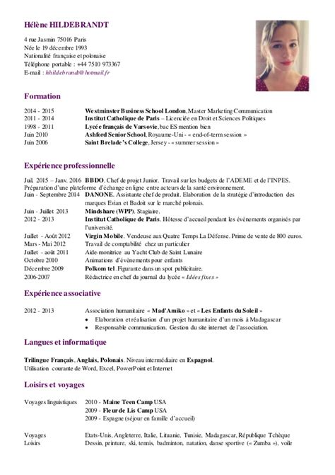 Le Cv by Modele Cv Simple Madagascar