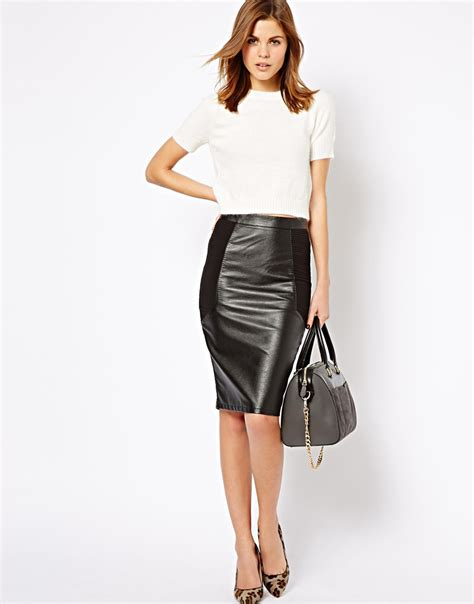 warehouse skirts asos warehouse leather look mix pencil skirt in black lyst