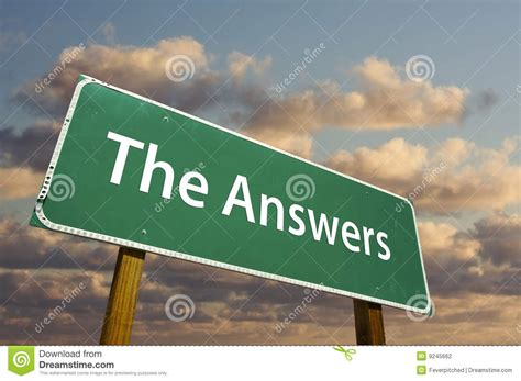 The Answers Green Road Sign Stock Photo  Image Of Direction, Notice 9245662
