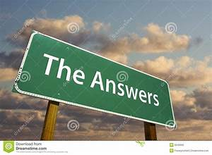 The Answers Green Road Sign Stock Photography