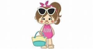 Cowboy Applique Designs Aloha Little Girl Wearing Sunglasses Applique Machine