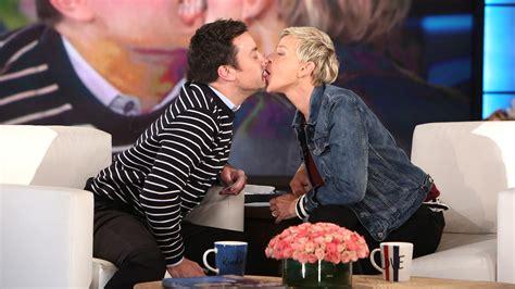 Jimmy Fallon And Ellen Degeneres Share Hilarious Kiss