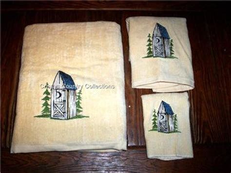 rustic bath towel sets 3 pc embroidered rustic outhouse bath towel set new ebay