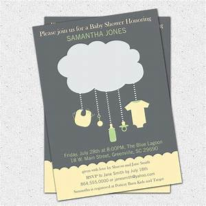 Rain Cloud Baby Shower Invitations, Gender Neutral Green ...
