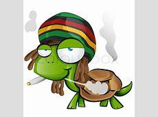 Jamaican tortoise cartoon on white background Stock