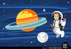 Astronauta flotando en el espacio exterior - Descargar vector