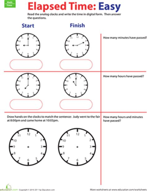 Time Goes By Calculate Elapsed Time #1  Worksheet Educationcom