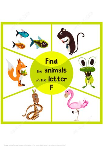 animals that start with the letter f find 3 animals on the letter f free printable puzzle 20456 | find 3 animals on the letter f puzzle game