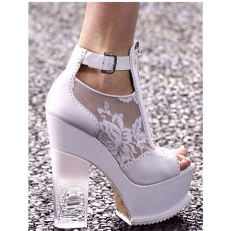 shoes white heels lace clear heel white heels thick heel platform high heels wheretoget