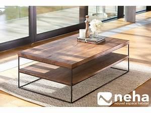 Table Basse Bois Et Metal : table basse bois m tal noir ch ne massif industriel ~ Dallasstarsshop.com Idées de Décoration