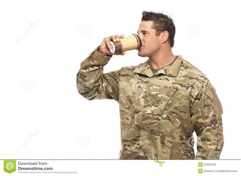 Soldier Drinking Coffee Stock Photo Coffee Jelly Cheesecake No Bake Tassimo Caffeine Content Using Black Gulaman Too Small Descaling Light With Whipped Cream Ingredients Best Grind Drip Makers
