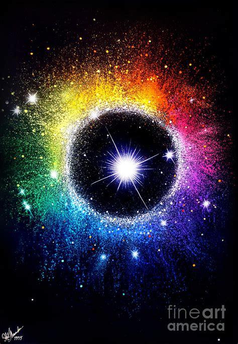 Rainbow Circle Galaxy Beautiful Universe Painting By