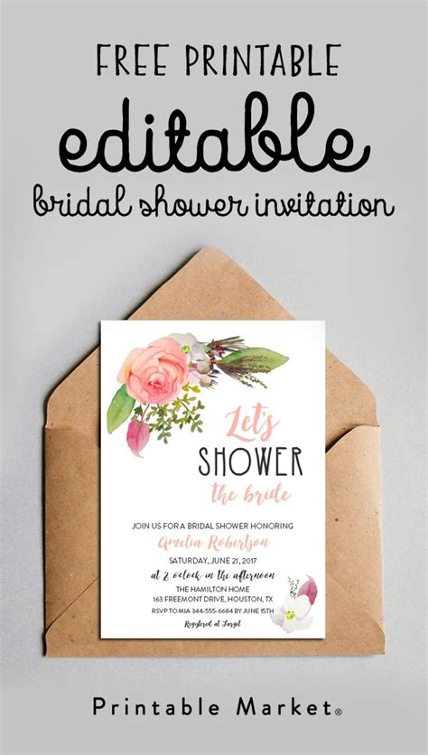 Free Printable Bridal Shower Invitations - free editable bridal shower invitation watercolor flowers