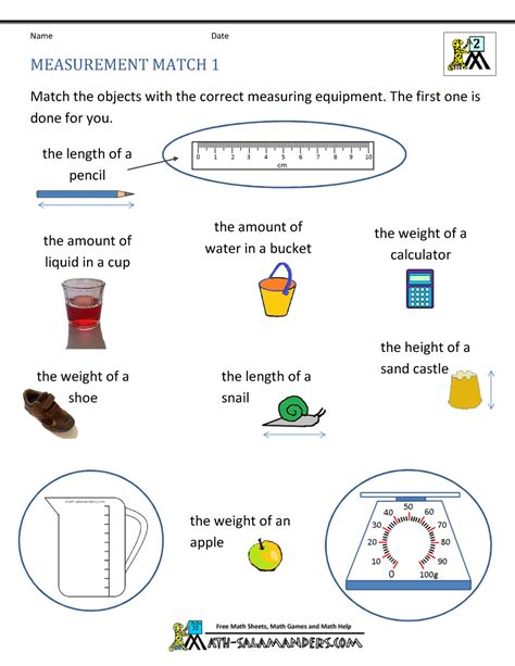 Math Measurements by 2nd Grade Measurement Worksheets